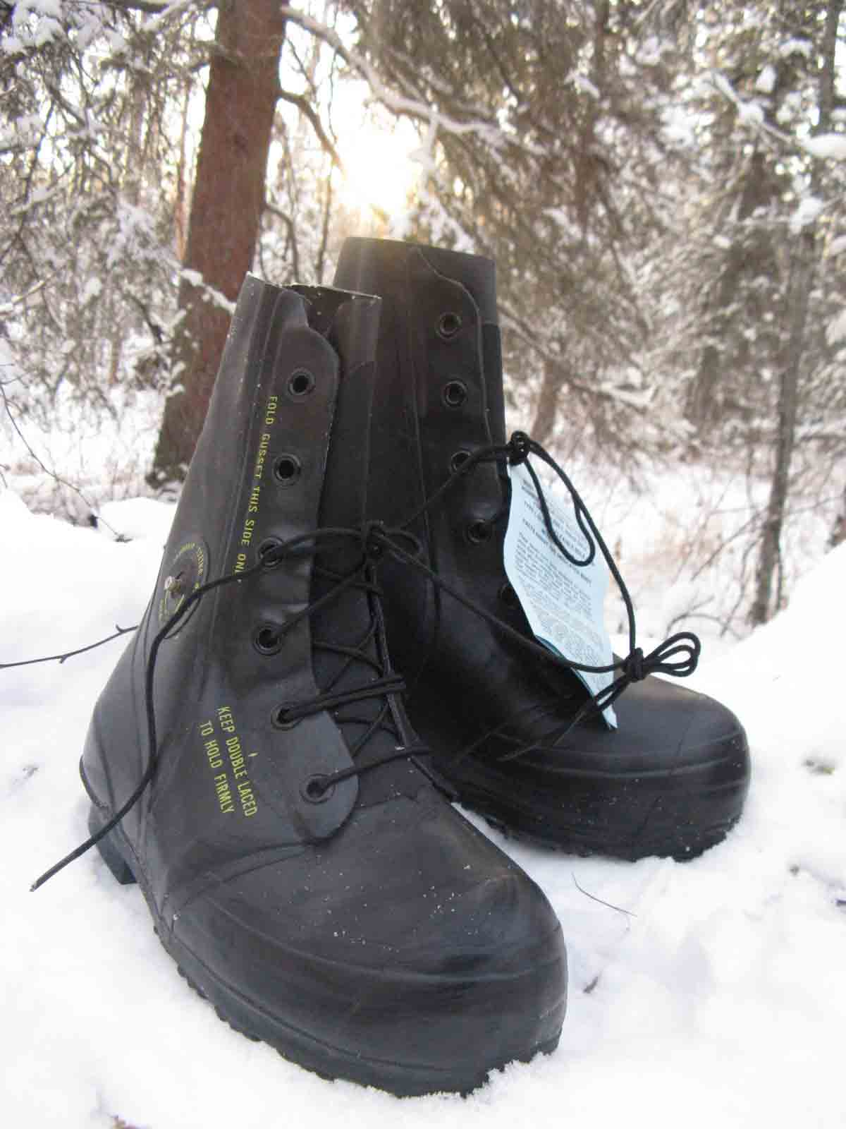 black boots in snow
